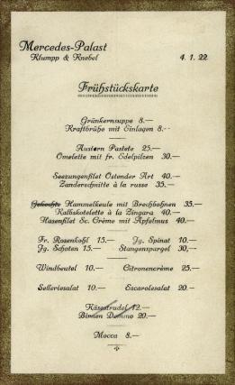 mercedes unter den linden breakfast menu 1922